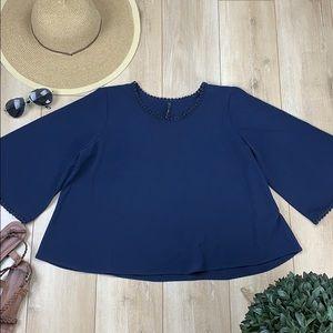 B Jewel blue bell sleeve crop top
